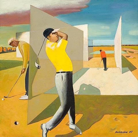 Oleg Kuzenko, Golf-Raum, 2007, 90x90 cm, Oel/Leinwand